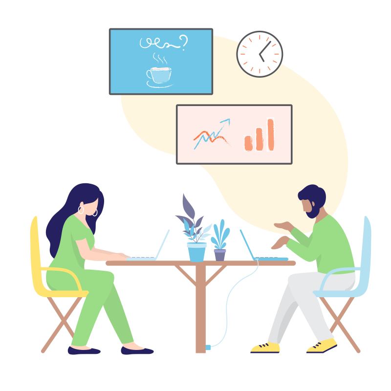 illustratie van vrouw en man werkend achter een laptop