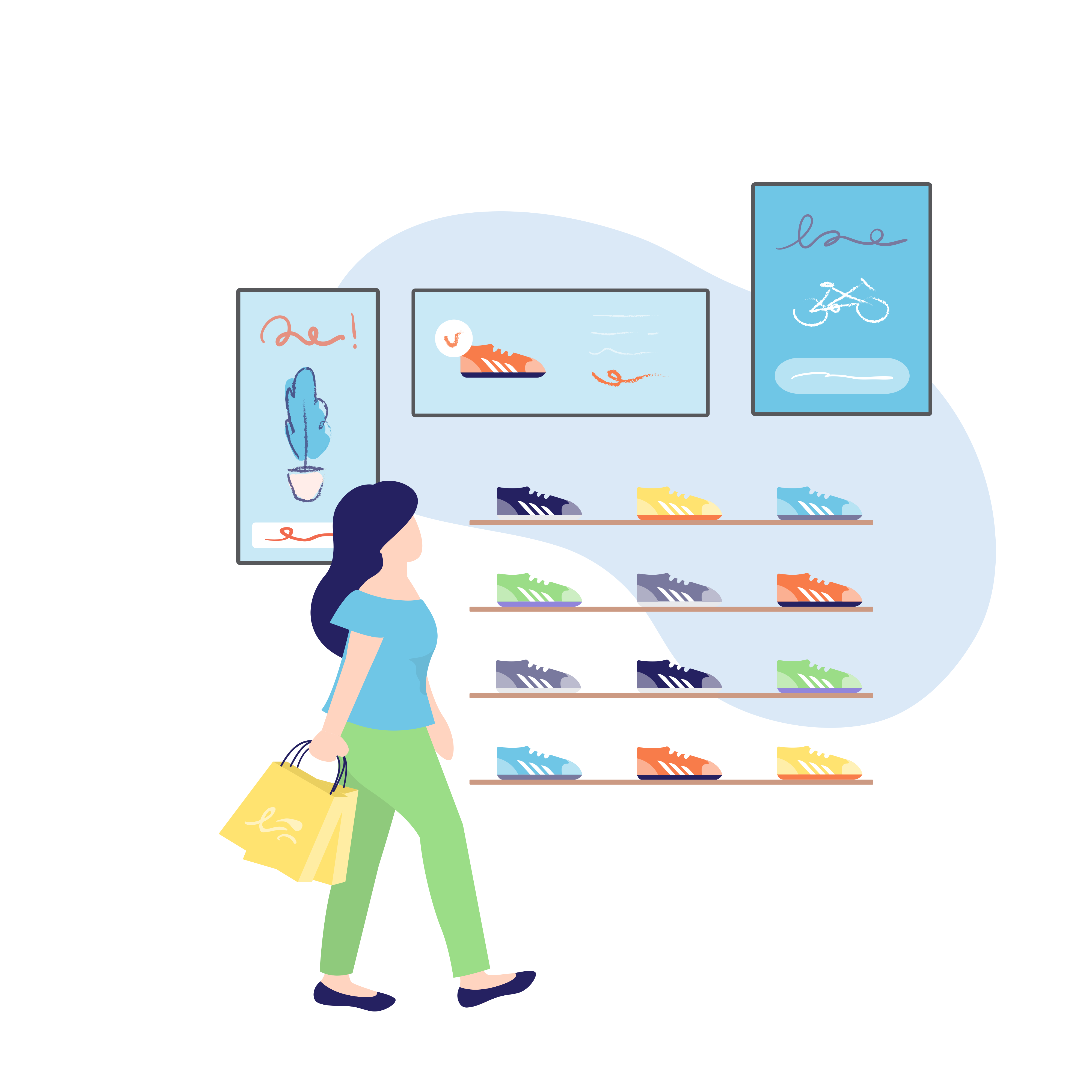 illustration of shopping woman in sports shoes store