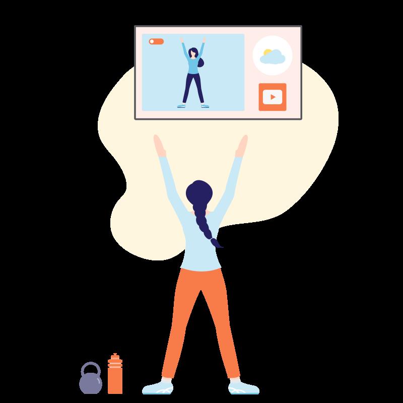 illustratie van fitness workout door een vrouw voor tv scherm in sportschool