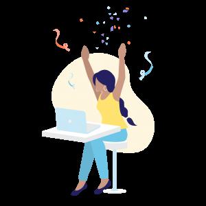 illustratie van juichende vrouw achter laptop