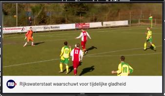Live tv, scherm met afbeelding van wedstrijd met daaronder NU.nl