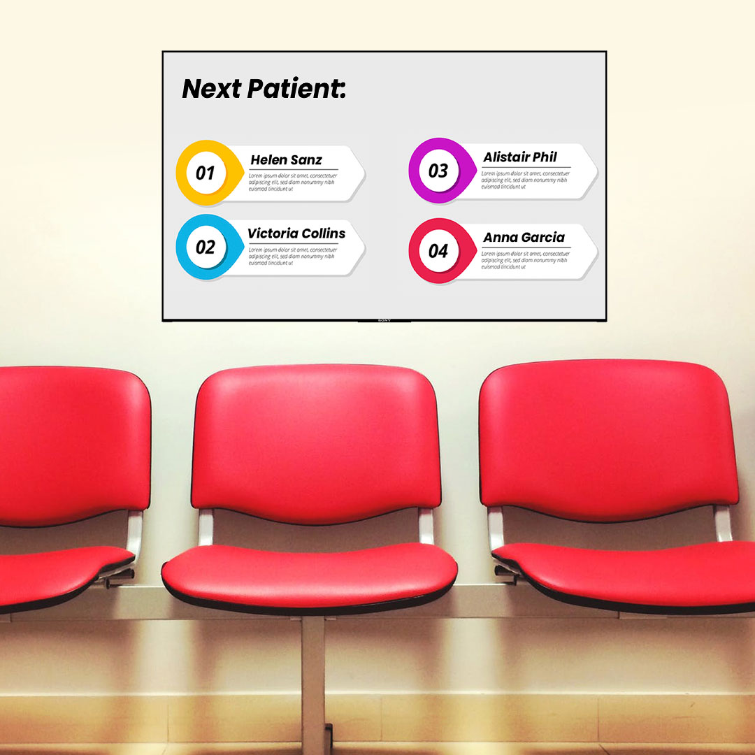 digital signage displays in a pharmacy waiting room