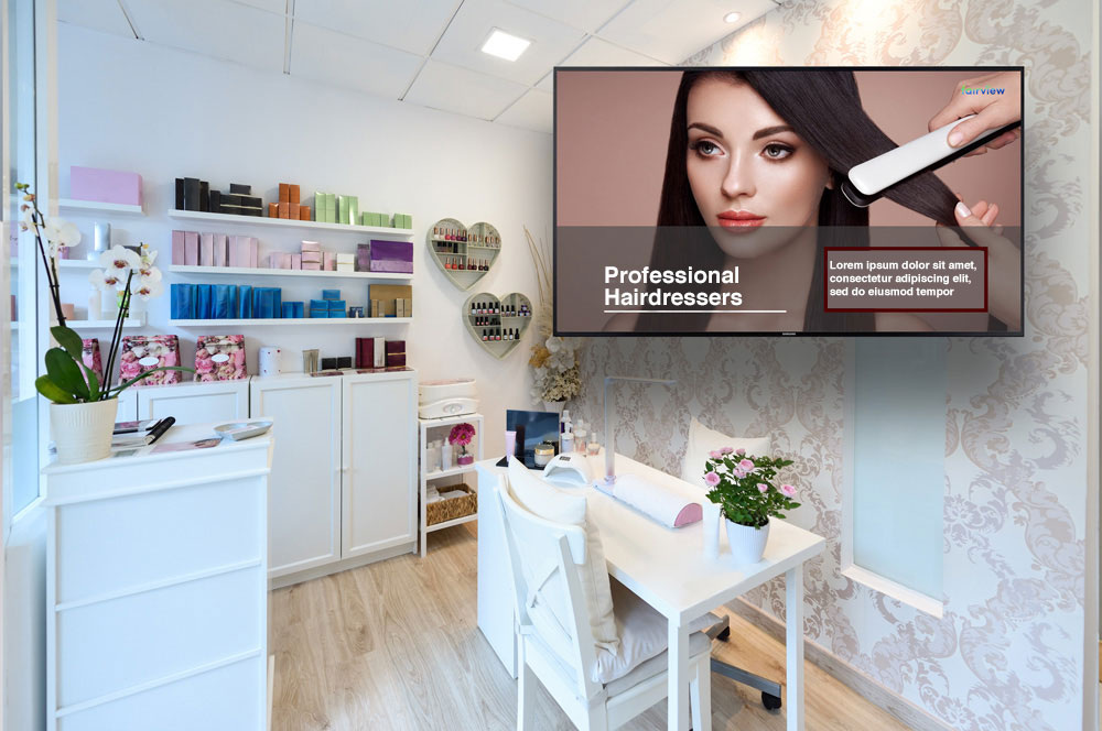 Digital signage for beauty salons | Free demo software Easyscreen.tv